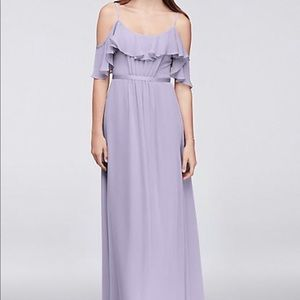 Cold-Shoulder Crinkle Chiffon Bridesmaid Dress